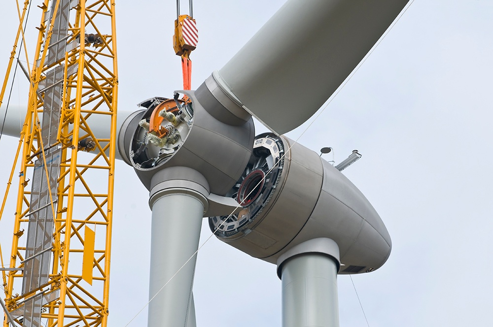 Wind Turbine being built. Wind turbine is becaoming more reliable source of energy.